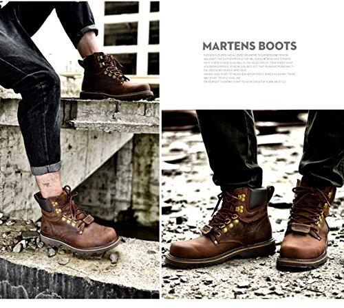 Z.SUO Herren Original-Leder Schnüren Sich oben Arbeit Desert Boots Stiefel Braun