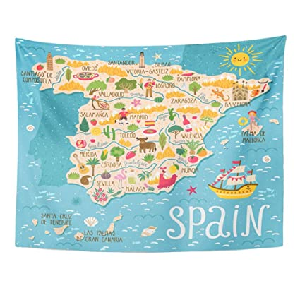 Map Of Spain And Europe.Amazon Com Emvency Tapestry Wall Hanging Red Europe Map Of Spain