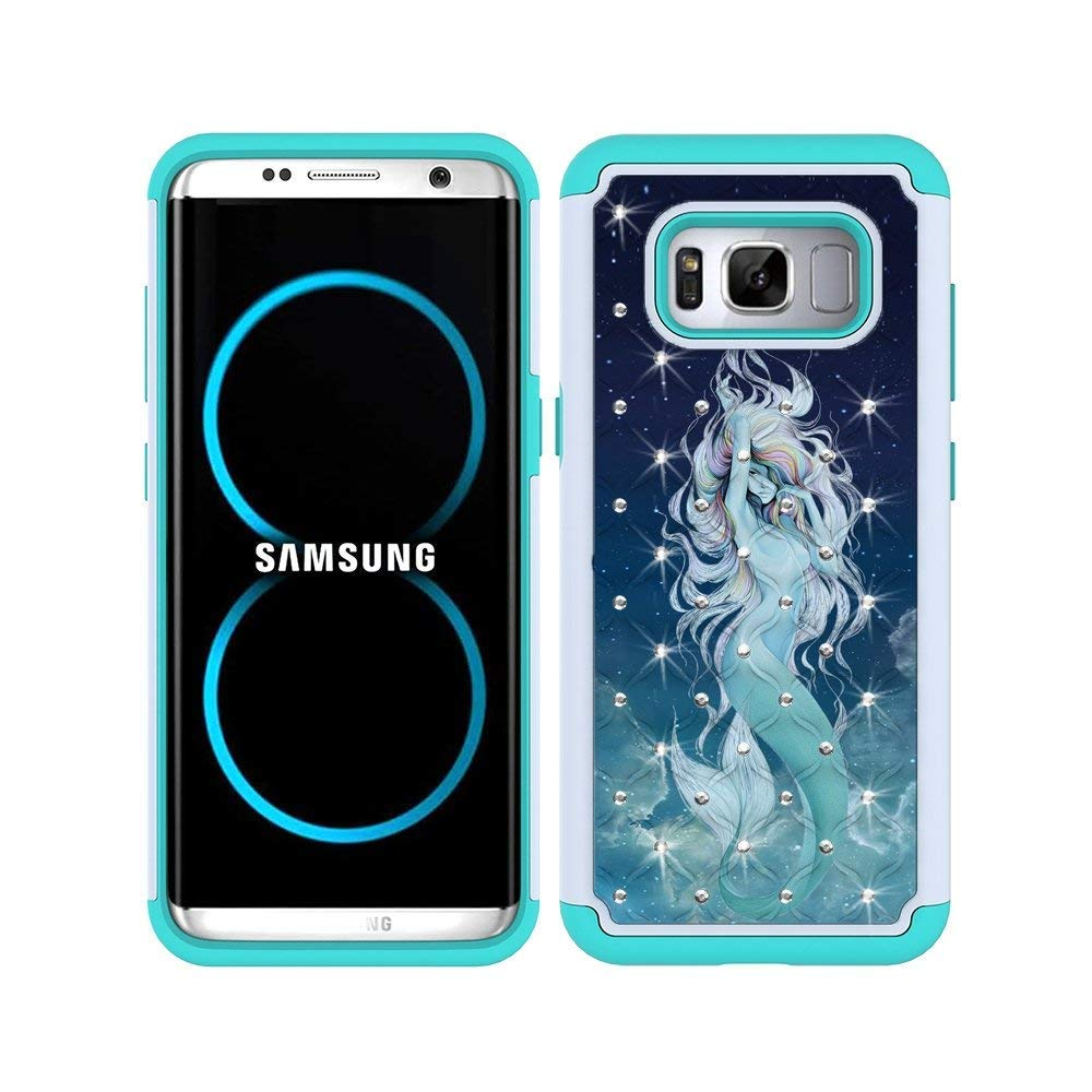S8 Case, MagicSky [Shock Absorption] Studded Rhinestone Bling Hybrid Dual Layer Armor Defender Protective Case Cover For Samsung Galaxy S8(Mermaid)