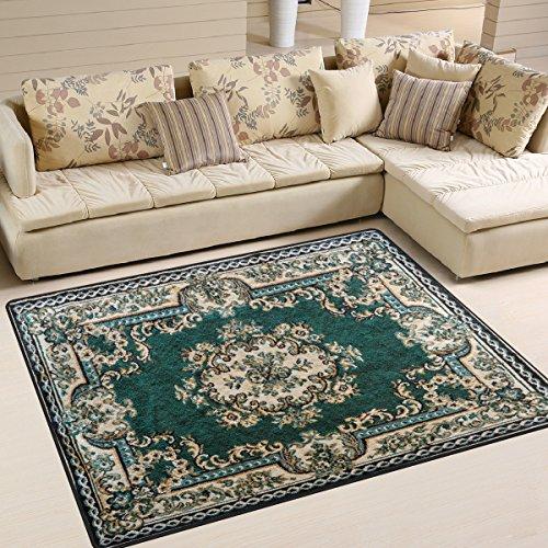 ALAZA Area Rug 7'x5' Persian Texture Ornament Round Mandala Pattern Dark Green Non-Slip Floor Mat Carpet for Living Dining Bedroom