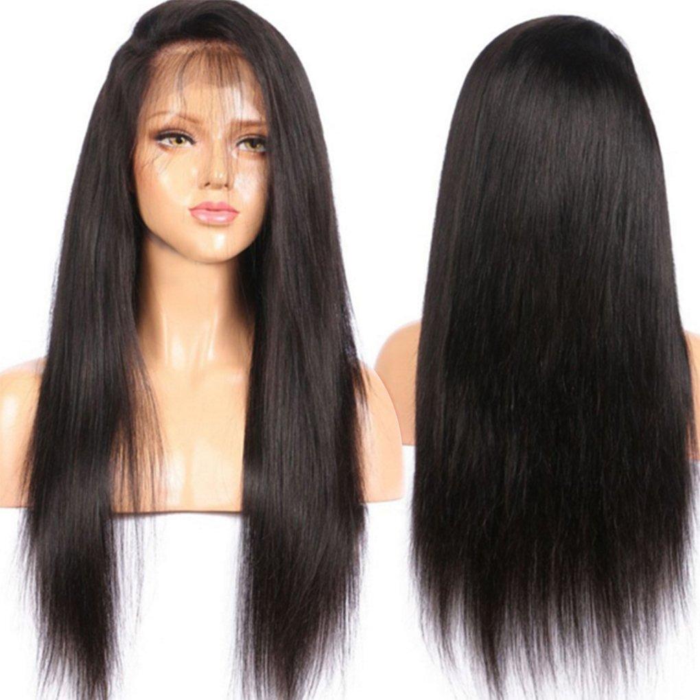 Peluca de malla frontal hecha con cabello humano brasileño superliso, grado 7A, sin pegamento, con hebras de cabello cortas en la parte frontal, ...