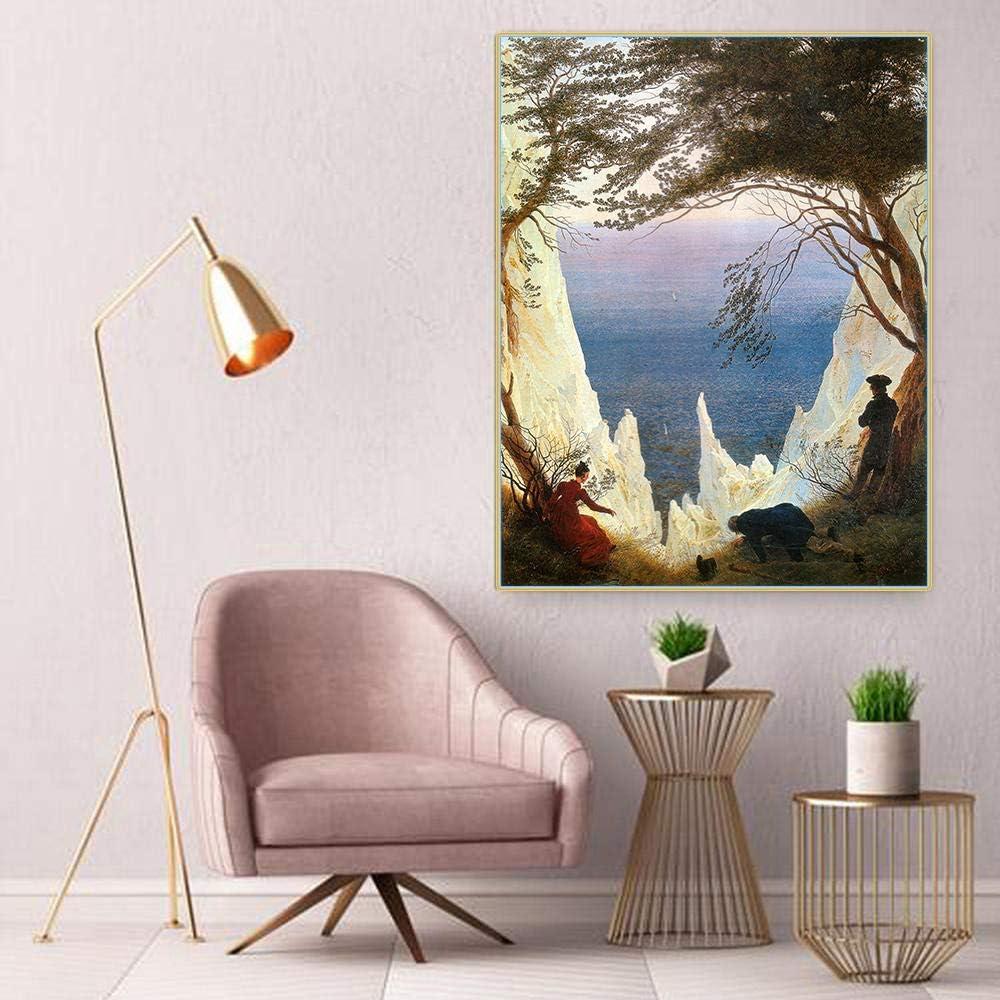 LYFCV Citon Caspar David Friedrich 《Kreidefelsen》 Leinwand /Ölgem/älde Landschaft Artwork Poster Gem/älde Wanddekoration Wohnkultur 50x70 cm ohne Rahmen