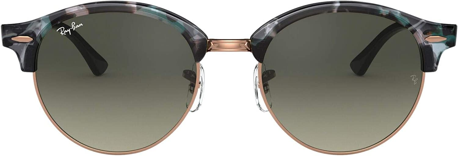 Ray-Ban Clubround Round Sunglasses, Spotted Grey/Green, 53 mm: Amazon.es: Ropa y accesorios