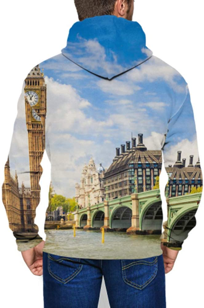 Long Sleeve Hoodie Print Big Ben Houses Parliament London UK Jacket Zipper Coat Fashion Mens Sweatshirt Full-Zip S-3xl
