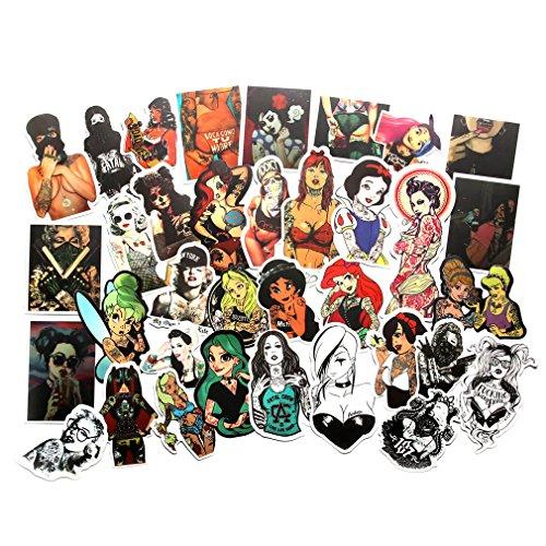 Baybuy Sexy Tattoo Stickers Women Princess Beauty Laptop Sticker Decals Punk Vintage Retro Stickers For Luggage Skateboard Phone Case Guitar Car Bike Bumper Helmet (52pcs)