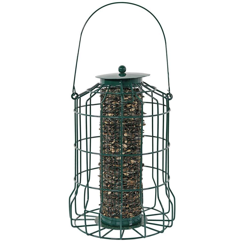 Sunnydaze Outdoor Hanging Wild Bird Feeder, Metal Wire Squirrel Proof Cage, 9 Inch, Green Sunnydaze Decor