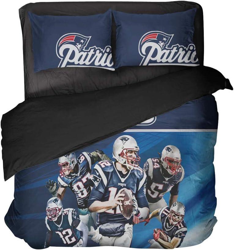 Namaen 5 American Football Players Bedspread Sets Massachusetts Sports 3 Pieces Bedding Sets Full (Blue, Full 3pcs)