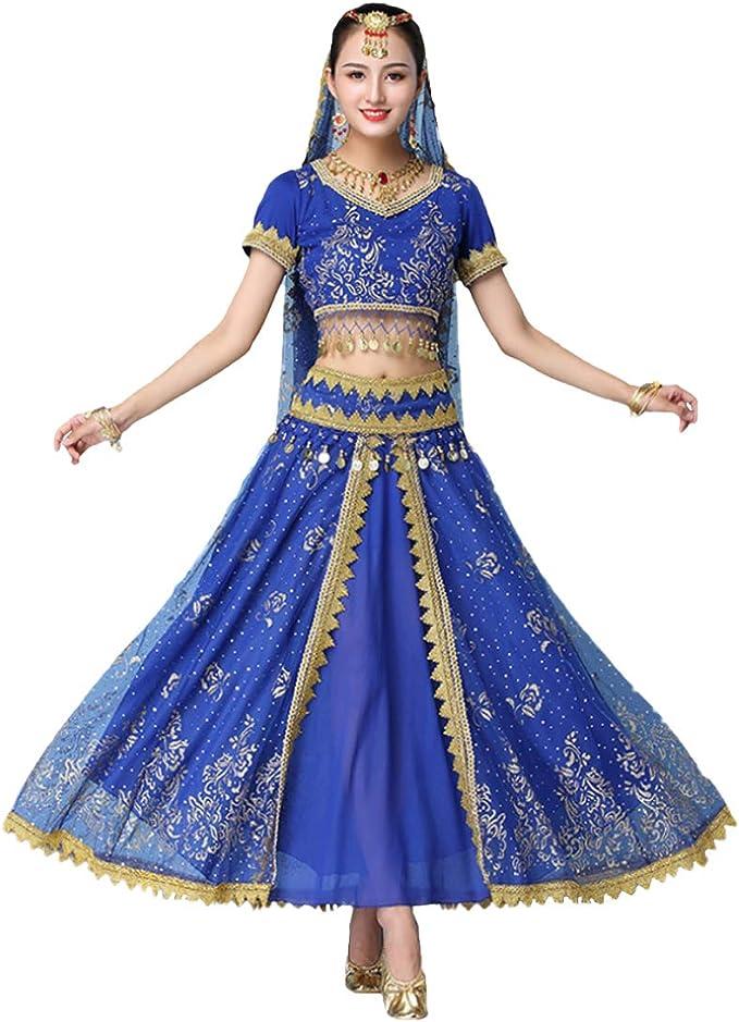 DAIYO Mujeres Set de 4 Piezas India Baile Folclórico Lentejuelas ...