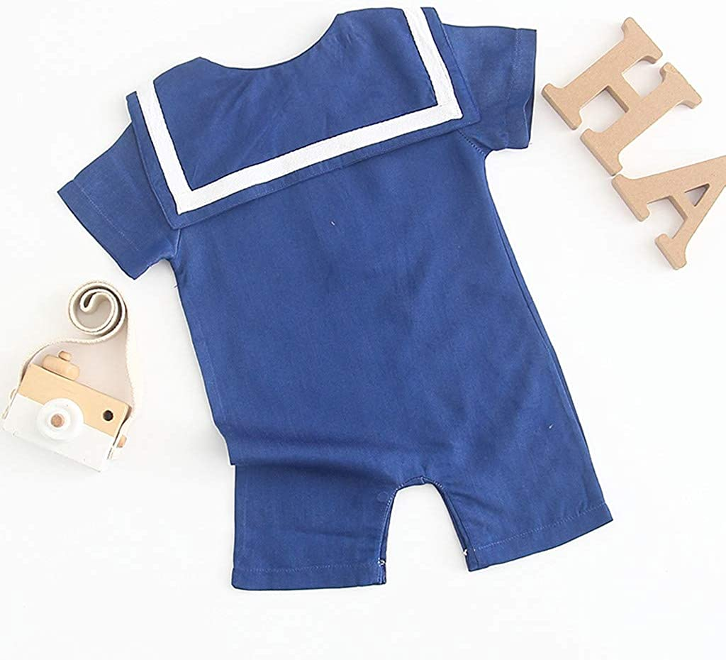 Toddler Kids Infant Baby Boys Girls Romper Playsuit Clothes,Short Sleeve Navy Style Rompers Jumpsuit Set