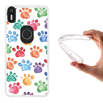 WoowCase Funda Bq Aquaris X5 Plus, [Bq Aquaris X5 Plus ] Funda Silicona Gel Flexible Huellas Perro, Carcasa Case TPU Silicona - Transparente