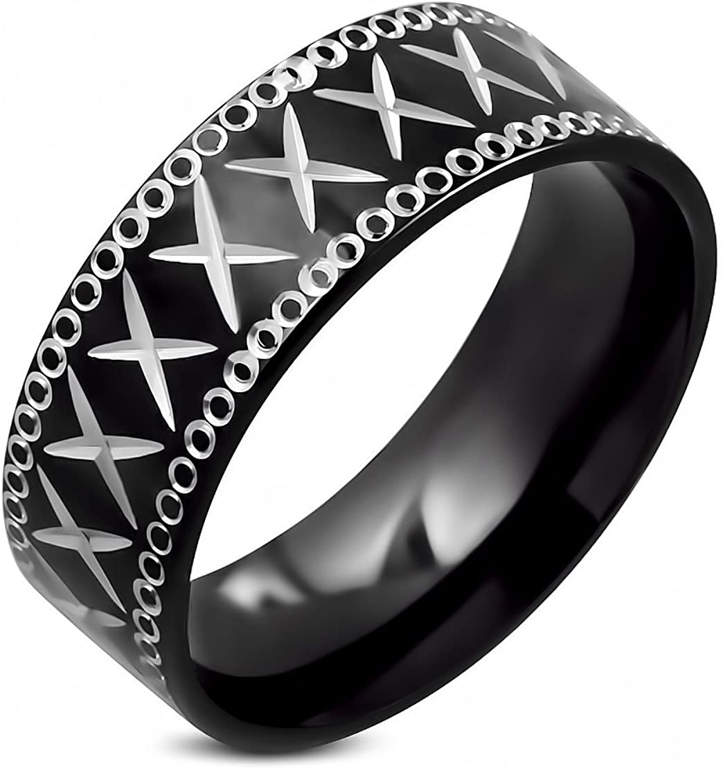 Stainless Steel Black 2 Color Diamond-Cut Criss-Cross Comfort Fit Flat Band Ring