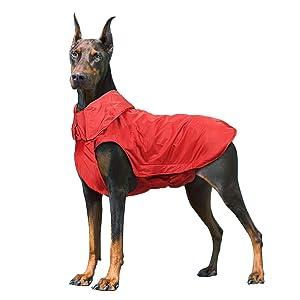 IREENUO Cane Cappotto Impermeabile, Cane Giacca Impermeabile Invernale Caldo con Nastro Riflettente Abbigliamento da Esterno Adatto per Cani Grandi, Medi e Piccoli Rosso-2XL