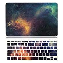 """EWC 2in1 Print Frosted Rubber Coated Soft-Touch Hardshell Case Cover with Keyboard Skin for MacBook Air 13""""-A1369/A1466-Galaxy Red/Green"""