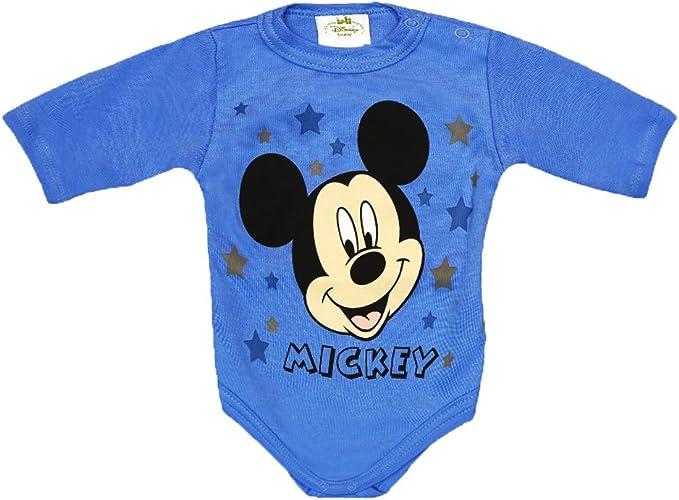 Mickey Mouse Jungen Baby Body Langarm in Blau Wei/ß Gr 56 62 68 74 80 86 92 98 Disney Baby Wickelbody 0 6 12 18 24 Monate Farbe Modell 4