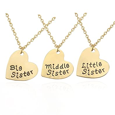 Amazon chuyun trendy matching best little sister middle sister amazon chuyun trendy matching best little sister middle sister big sister pendant necklace 3 pcs set gift for sis family gift tone heart pendants aloadofball Image collections