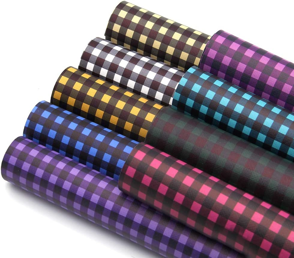 30*140cm//Roll Plaid Printed Faux Leather Fabric Sheet for DIY Hair Bows Crafts