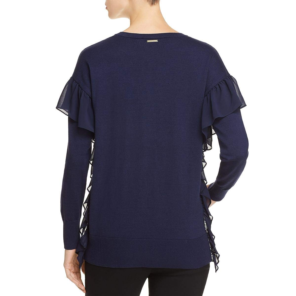 88e9e3c3529 Amazon.com  Michael Kors Womens Ruffled Ribbed Trim V-Neck Sweater  Clothing