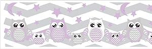 Purple Owl Border Wall Decals Stickers/Chevron Border Woodland Forest Animal Nursery Decor (Purple Owls)