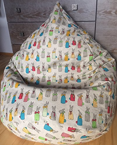 Easter bunny bean bag chair cover | Easter decor | Natural Linen handmade cover | Kids seating | Toddler room | Rabbit print | Easter bunny ornament | Playroom furniture