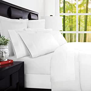 Mandarin Home Luxury 100 Percent Rayon Derived from Bamboo Bed Sheets - Eco-Friendly, Hypoallergenic and Wrinkle Resistant - 4-Piece - (Queen, White)