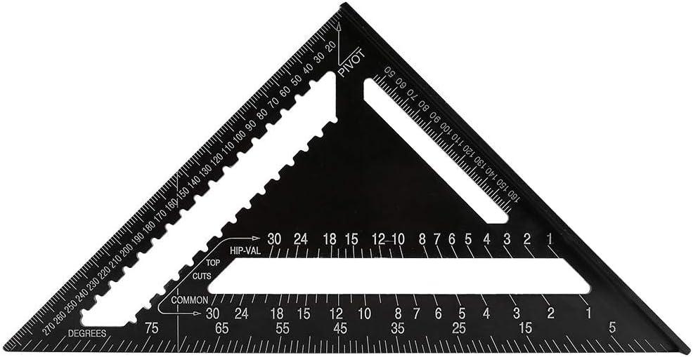 12 Pouces En Alliage Daluminium Triangles Forme R/ègle Carr/ée Pr/écision Ing/énieur Charpentier Effacer Graduation Outil De Mesure