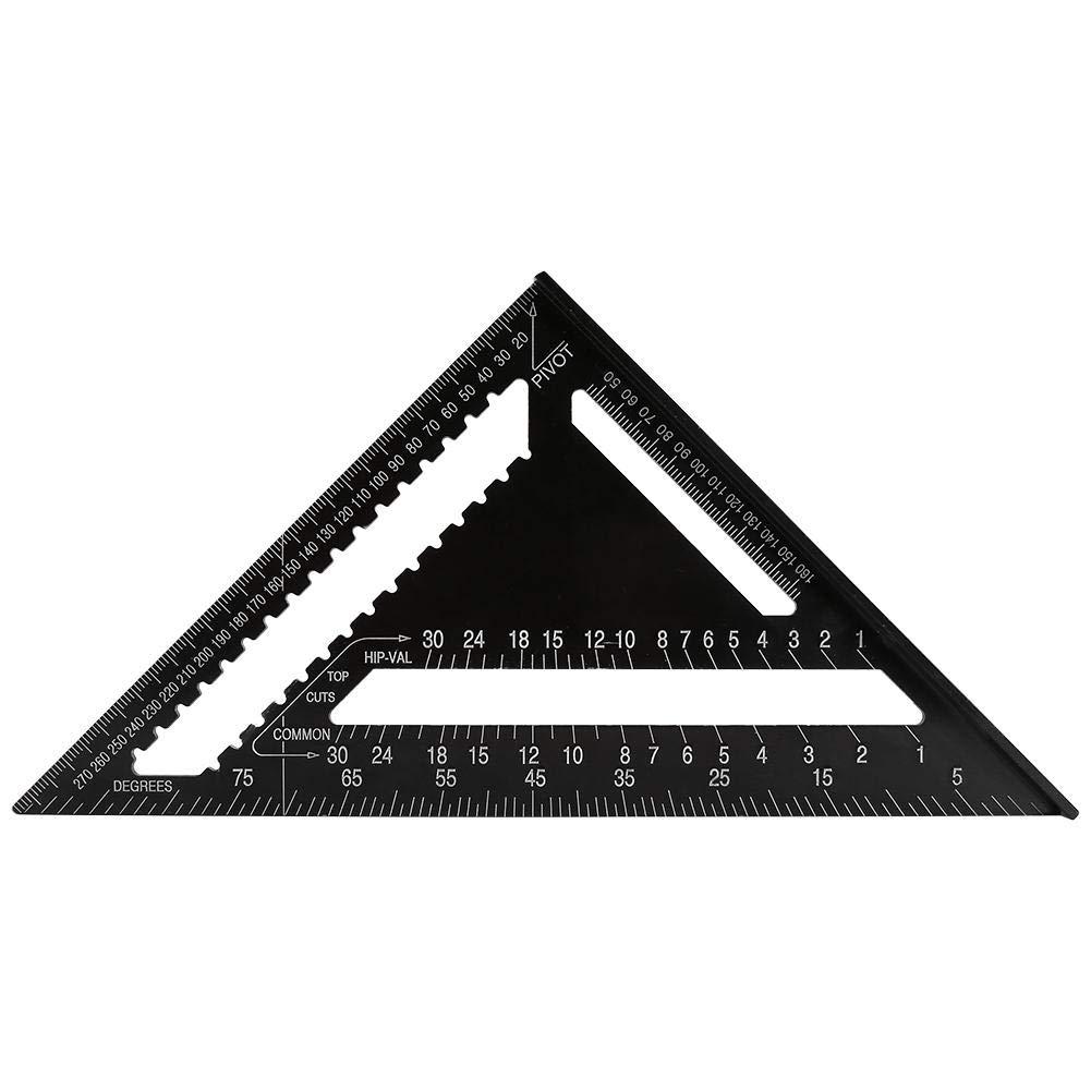 Regla Fydun aleaci/ón de aluminio de 12 pulgadas Forma de tri/ángulo Regla cuadrada Ingeniero de precisi/ón Herramienta de medici/ón de carpintero