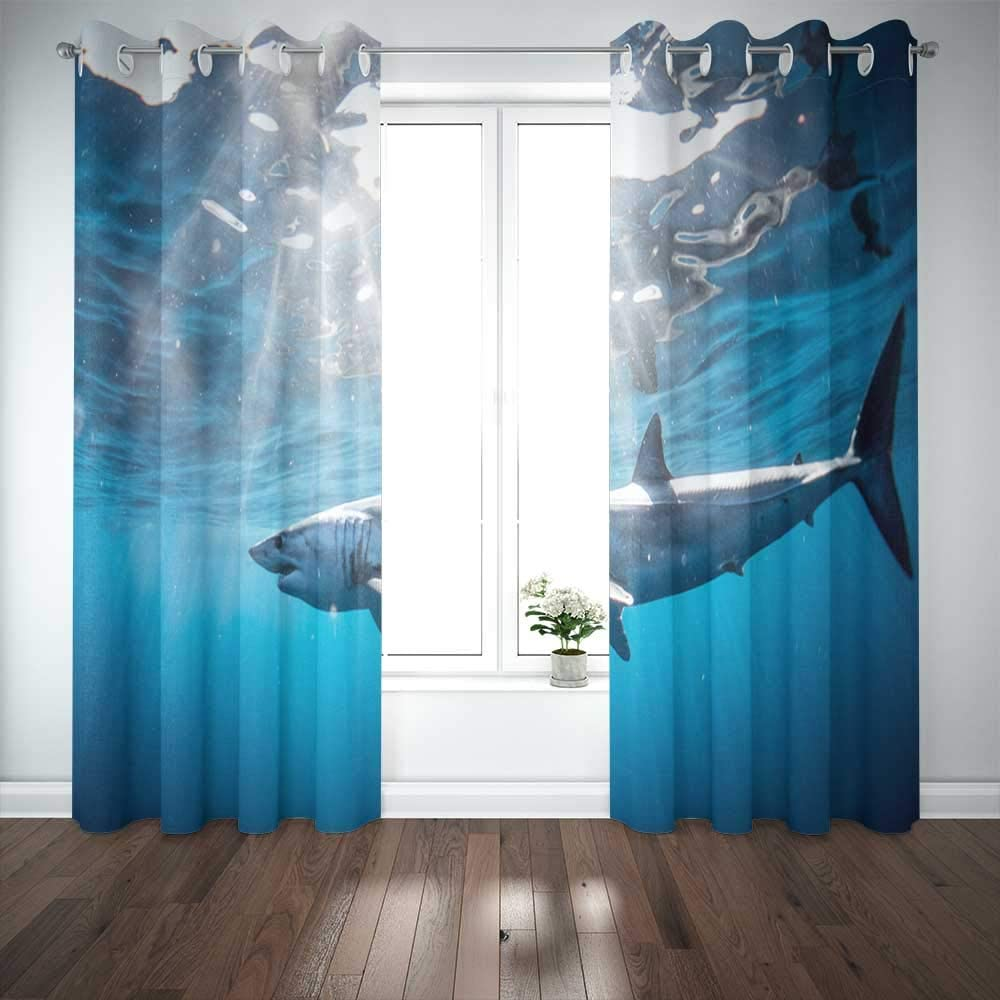 EMMTEEY 52X84 Curtains 2 Panels Shark Diving in The Sea of with Coast Cabo San Mexico a Mako Lucas Window Curtain Panels for Living Room Bedroom Décor
