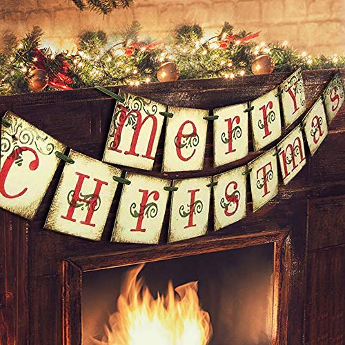 ORIENTAL CHERRY Merry Christmas Banner - Vintage Xmas Decorations Indoor for Home Office Party Fireplace Mantle (Inexpensive Christmas Decorations For Table)