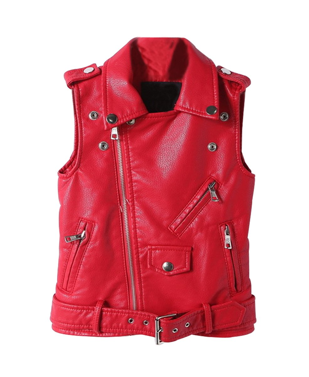 LOKTARC Kids Faux Leather Sleeveless Jackets Motorcycle Vest for Boys & Girls