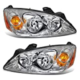 pontiac g6 lighting - Partsam Driver and Passenger Side Pair Left+Right Halogen Replacement Headlights Headlamps Assembly GM2502255 GM2503255 20821143 20821144 Chrome Housing for 2005 2006 2007 2008 2009 2010 Pontiac G6