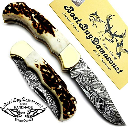 Stag-Horn-65-Handmade-Damascus-Steel-Brass-Bloster-plus-Sharpening-Rod-Folding-Pocket-Knife-Back-Lock-100-Prime-Quality