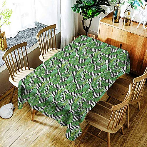 XXANS Large Rectangular Tablecloth,Monstera Leaf,Watercolor Style Illustration Island Jungle Foliage on Black and White,Table Cover for Dining,W60x120L Black White Green