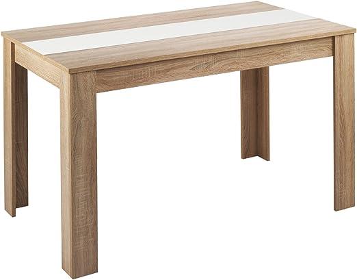 HOMEXPERTS Esstisch NICO Küchentisch 140 cm Esszimmertisch Tisch in Sonoma Holz Eichen Optik hell braun Wendeplatte in der Mitte wahlweise