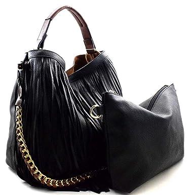 c298fffb555e Amazon.com  Handbag Republic Fringe Hobo w inner Bag Crossbody - Black   Clothing