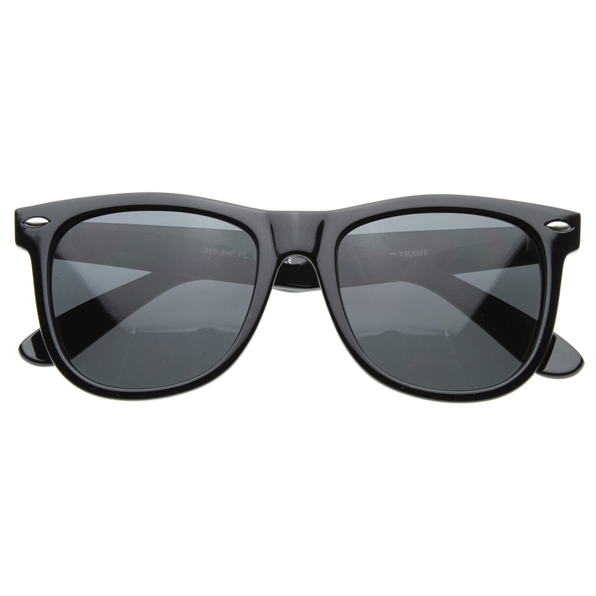 Large 55mm Polarized Lens Anti Glare Classic Horn Rimmed Style Sunglasses (Black)