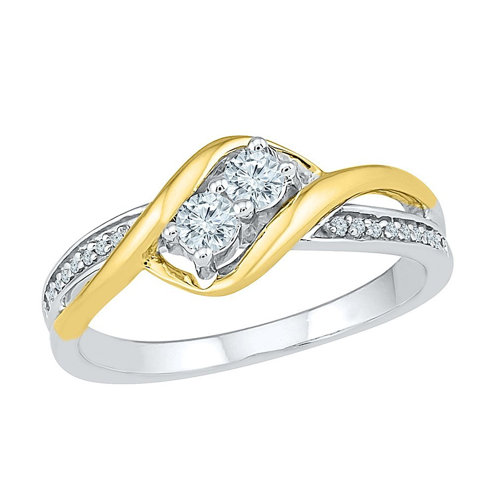 Sterling Silver and 10KT Yellow Gold Two Stone White Round Diamond Fashion Ring (0.25 CTTW)