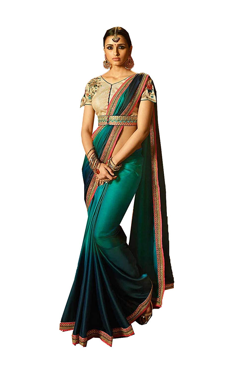 Indian Sarees for Women Designer Party Wear Traditional Turquoise Sari.