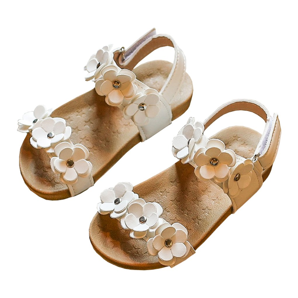 lakiolins Toddler Girls Open Toe Gladiator Flower Straps Flat Sandals Summer Beach Shoes White Size 24