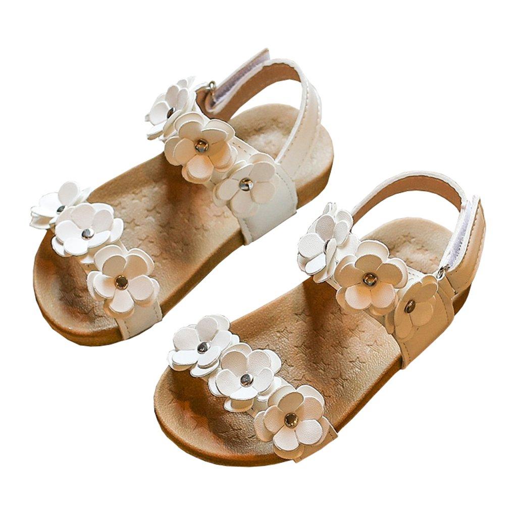 lakiolins Toddler Girls Open Toe Gladiator Flower Straps Flat Sandals Summer Beach Shoes White Size 21