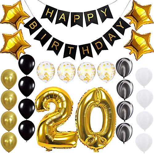 Happy 20th Birthday Banner Balloons Set for 20 Years Old Birthday Party Decoration Supplies Gold Black