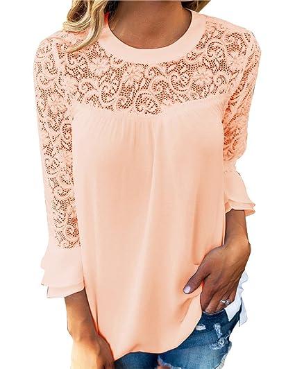 Mujer Camiseta Blusa Mangas Largas Elegante Hombros Abiertos Casual Oficina Albaricoque S