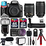 Holiday Saving Bundle for D3300 DSLR Camera + AF 70-300mm G Lens + AF-P 18-55mm + Flash with LCD Display + Battery Grip + Shotgun Microphone + LED Kit + 2yr Extended Warranty - International Version