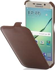 StilGut Slim Case, Custodia per Samsung Galaxy S6 Edge, Cognac Vintage