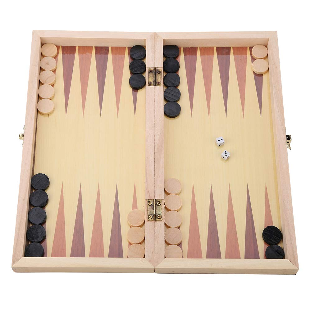 Wooden 3-in-1 Chess /& Checkers /& Backgammon Folding Board Portable Travel Tabletop Game Toy