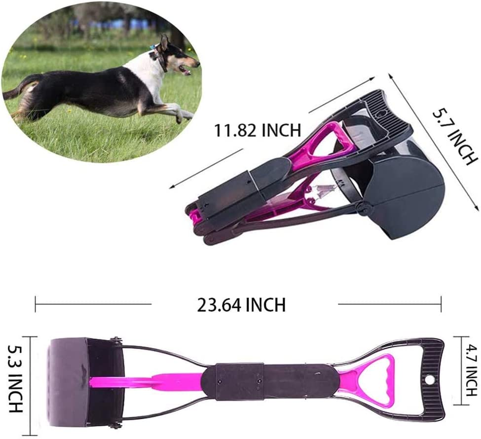Dirt Pink Pooper Scooper with Non-Breakable High Strength Durable Spring /& Premium Materials Pick Up for Grass NANTING 23.6 Inch Long Handle Foldable Portable Pet Pooper Scooper for Dogs