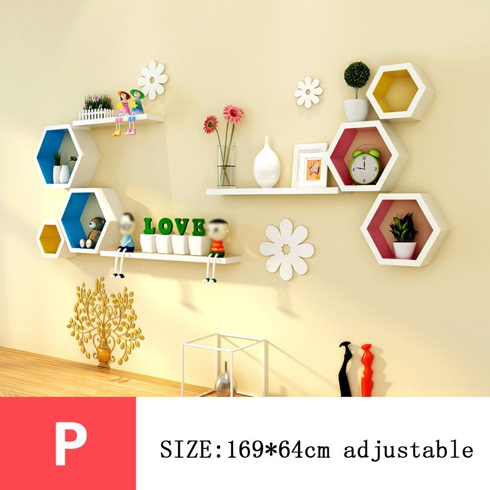 HOMEE Wall Shelf Wall Hanging Wall Creative Lattice Decorations Tv Wall Decoration Living Room Wall Shelf (Multiple Styles Available),P by HOMEE