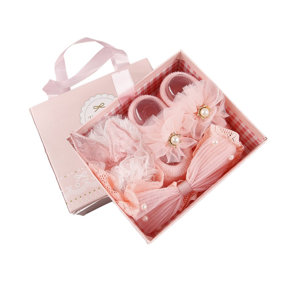 ? BOBORA ? Newborn Baby Girl Organic Anti Slip Socks + Girl's Flower Crown Headbands Sets with Gift Box- Best Baby Shower Gift