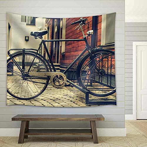 wall26 – a Vintage Photo of Bicycle Parked Near a House – Fabric Wall Tapestry Home Decor – 68×80 inches
