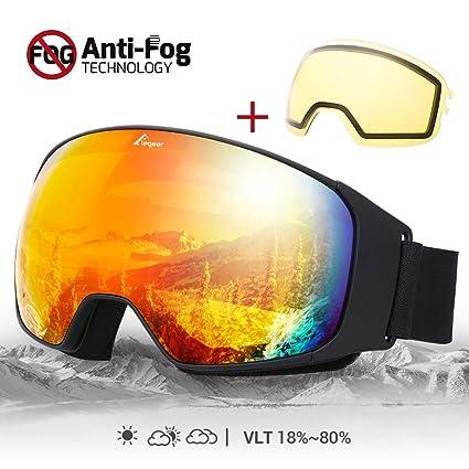 424dbaf00e86 Elegear Snow Glasses Snowboard Ski Goggles - UV400 Ski Glasses Dual Layers  Lens for Anti Fog