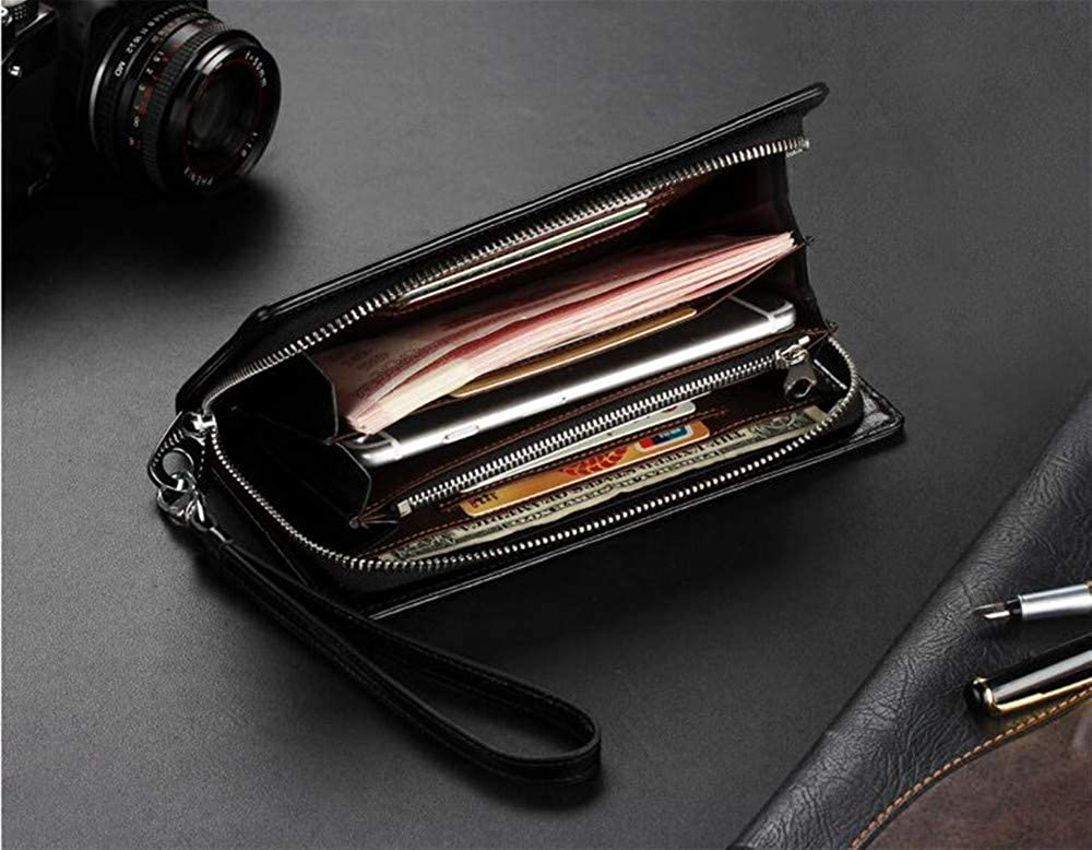 Woven mens wallet long wallet oil wax leather casual clutch coin purse card package ID package boy wallet